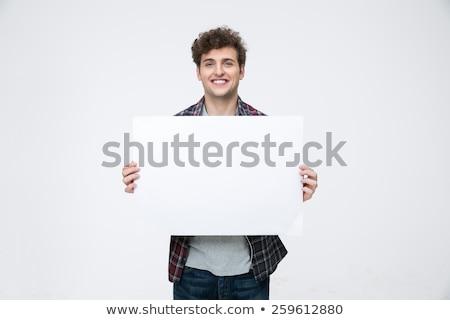 Gelukkig man krulhaar billboard haren Stockfoto © deandrobot