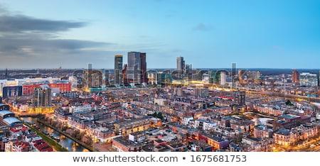 Foto stock: Holanda · aquarela · arte · imprimir · linha · do · horizonte · urbano
