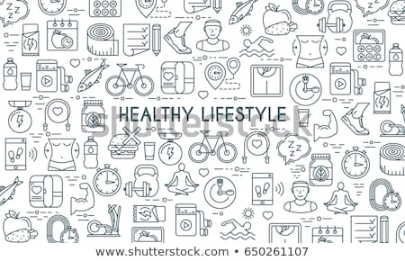 set of icons healthy lifestyle stock photo © netkov1