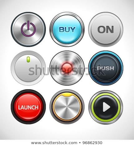 Sötét piros izzó erő gomb web design Stock fotó © saicle