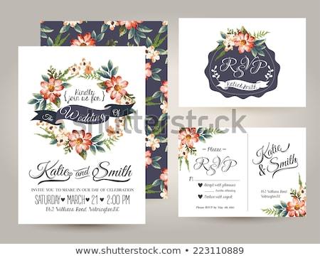 mavi · çiçekler · bağbozumu · düğün · davetiyesi · kart · düğün - stok fotoğraf © morphart