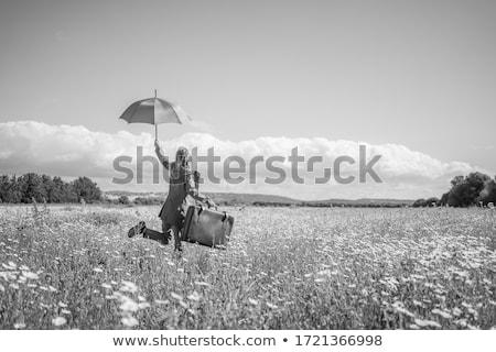 Сток-фото: женщину · красочный · зонтик · белый · воды · солнце