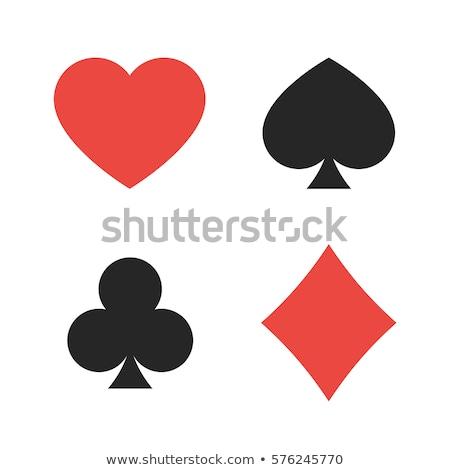 ayarlamak · kalpler · maçalar · elmas · yansıma · şeffaf - stok fotoğraf © blumer1979