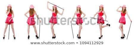 Csinos fiatal mini rózsaszín ruha izolált Stock fotó © Elnur
