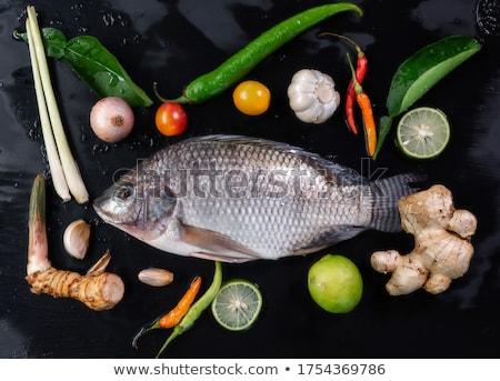 surowy · pstrąg · ryb · tabeli · papieru · drewna - zdjęcia stock © racoolstudio