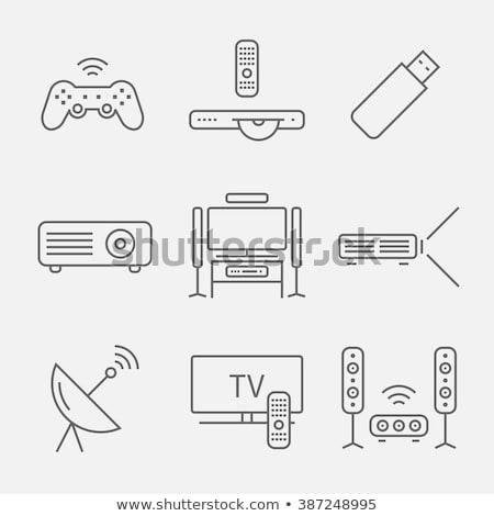 digitale · projector · lijn · icon · web · mobiele - stockfoto © rastudio
