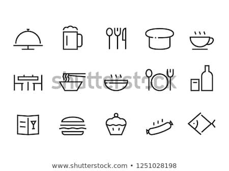 Sausage on fork line icon. Stock photo © RAStudio