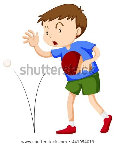 мальчика настольный теннис иллюстрация спорт фон искусства Сток-фото © bluering