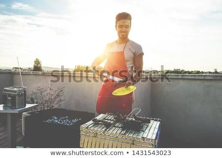調理 · バーベキュー · 男 · 犬 · 幸せ · 太陽 - ストックフォト © rastudio