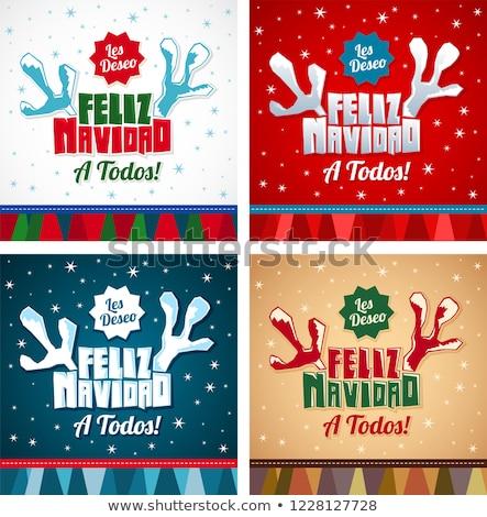 Christmas kaart spaans taal ornamenten Stockfoto © marimorena