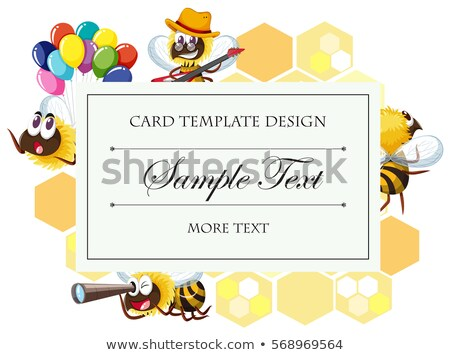 Card template with bee in different actions Stock photo © bluering
