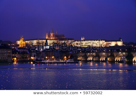 scenic night view of charles bridge and buildings along the vlta stock photo © kirill_m