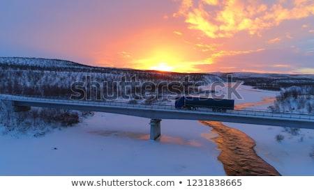 Teherautók híd forgalmi dugó reggel csúcsforgalom víz Stock fotó © joyr