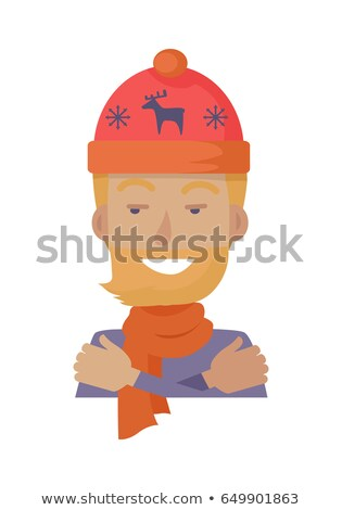 hat young man in knitted red headwear with deer stock photo © robuart