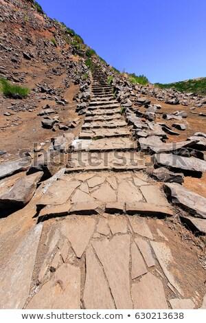 Stockfoto: Hiking Trail Leading Up The Mountain On Madeira