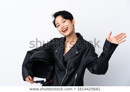 Motor meisje wiel zwart wit illustratie Stockfoto © derocz