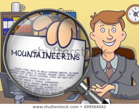 Mountaineering through Magnifying Glass. Doodle Style. Stock photo © tashatuvango