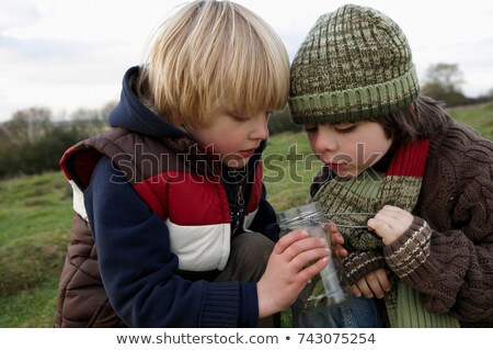 Stock photo: Young boy inspecting jar of insects