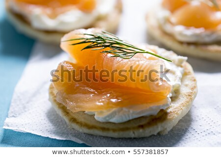 blinis with smoked salmon and sour cream stock photo © is2