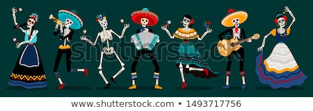 Day of the Dead. Painted skull in sombrero hat. Mexican holiday Dia de los Muertos. Lettering text g Stock photo © orensila