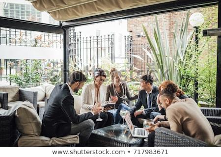 деловые люди говорить бизнеса женщину человека связи Сток-фото © IS2