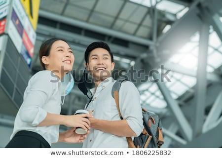 Asya · işadamı · bavul · el · kurumsal - stok fotoğraf © studioworkstock