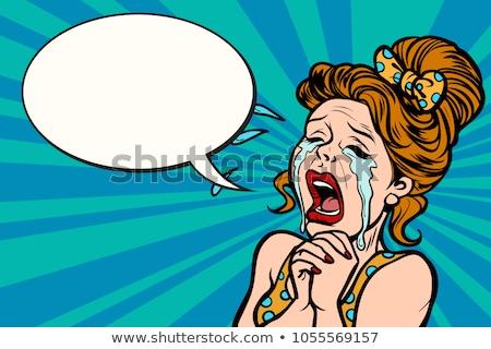 Kadın çok gözyaşı komik karikatür pop art Stok fotoğraf © rogistok