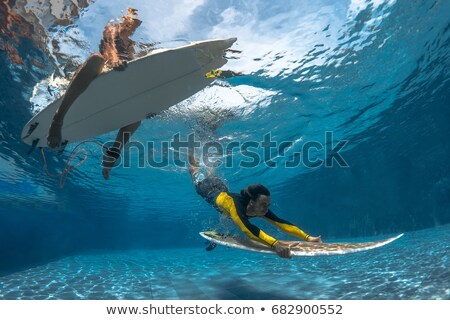 Couple with surfboards splashing Stock photo © IS2