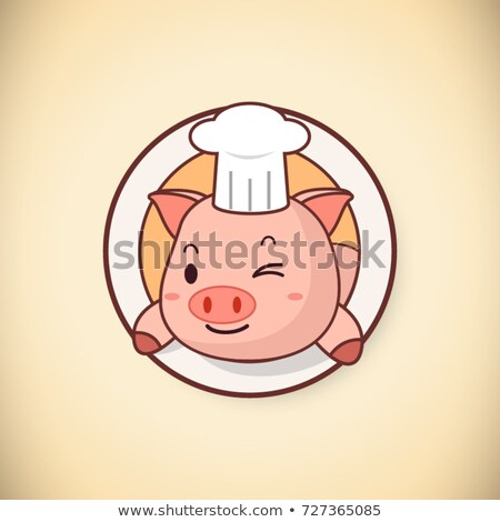 Winking Chef Pig Cartoon Mascot Character Stock photo © hittoon
