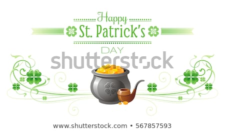 Vector illustration of Happy Saint Patricks Day with Green Falling Clover on Abstract Background. Ir Stock photo © articular