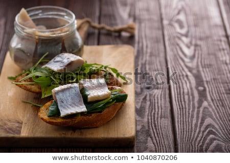 sózott · hagymák · asztal · kenyér · tányér · halászat - stock fotó © melnyk
