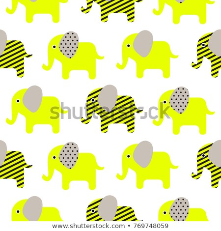 Cute elephant cartoon neon green baby seamless pattern. stock photo © yopixart