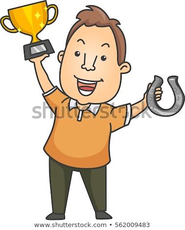 Hombre herradura campeón ilustración feliz dorado Foto stock © lenm