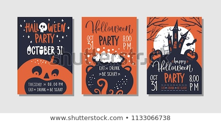 Halloween Party flyer vector illustration with moon on orange sky background. Holiday design with sp Stock photo © articular