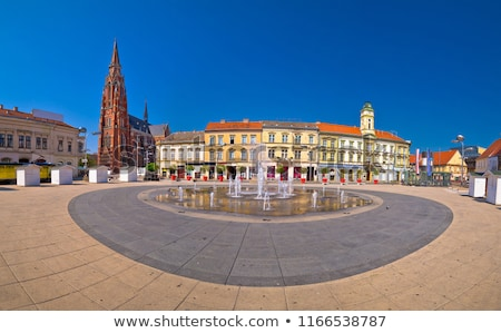 Osijek main square and cathedral panoramic view Stock photo © xbrchx