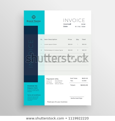 modern blue invoice template design Stock photo © SArts