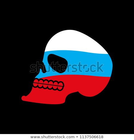 russia skull head of skeleton and russian flag fun emblem stock photo © popaukropa