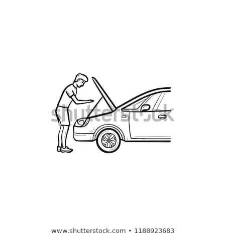 Man under the hood of car hand drawn outline doodle icon. Stock photo © RAStudio