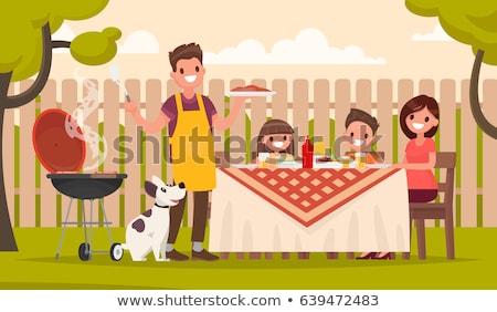 Apa fia főzés barbecue grill együtt vektor izolált Stock fotó © pikepicture