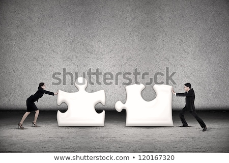 two businesspeople joining jigsaw puzzle pieces stock photo © andreypopov