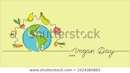 Mundo vegan dia cartão vegetal ícones Foto stock © cienpies