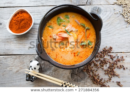 traditional tom yum spicy thai soup with shrimp stock photo © dash