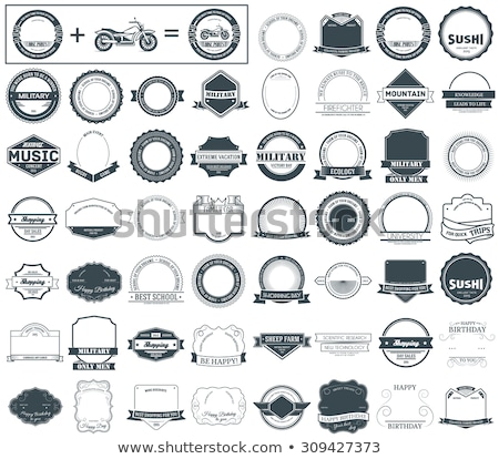 Gelukkige verjaardag ingesteld label sjabloon embleem element Stockfoto © Linetale