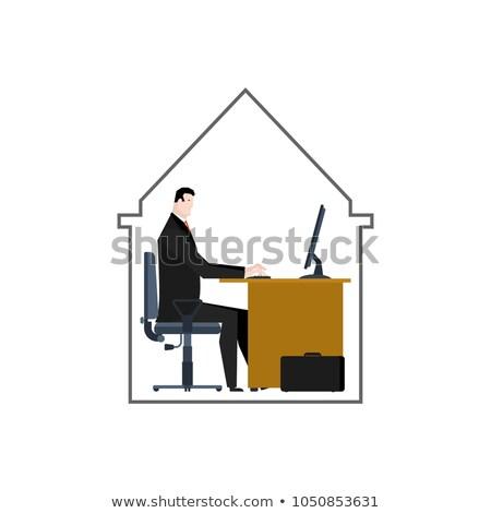 Mini escritório espaço um empresário casa Foto stock © MaryValery