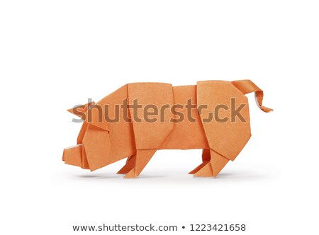 Orange pig of origami Stock photo © brulove