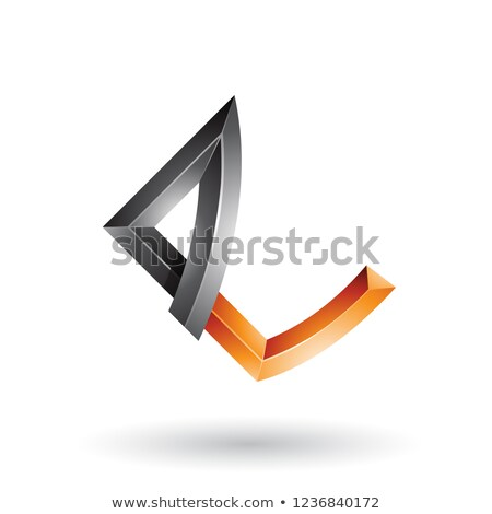 Black and Orange Embossed Letter E with Bended Joints Vector Ill Stock photo © cidepix