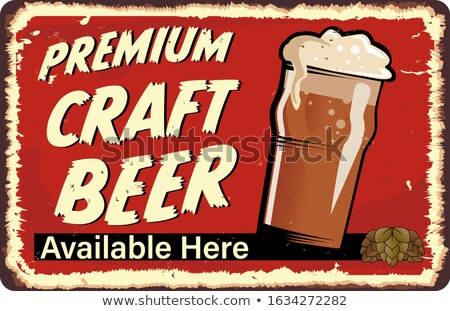 Cold Beer Here - Retro craft brewery card, pub poster design. Silhouette style. Brewing logo. Nice f Stock photo © JeksonGraphics