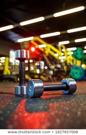 Súlyzók tornaterem kilátás padló sport fitnessz Stock fotó © boggy