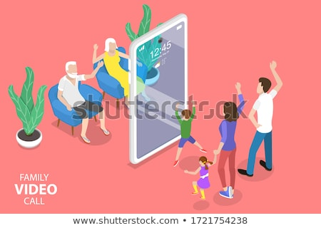 Girl with Camera and Smartphone Isometric Person Stock photo © robuart