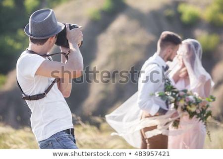 Gelukkig echtpaar bruiloft fotograaf vector geïsoleerd Stockfoto © robuart
